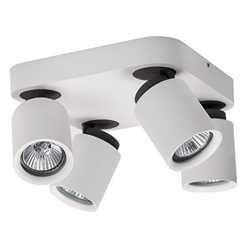 Lampada da parete spot contemporaneo bianco e nero forma quadrata flessibile 4-bulb esclud.GU10 4x50W 230V