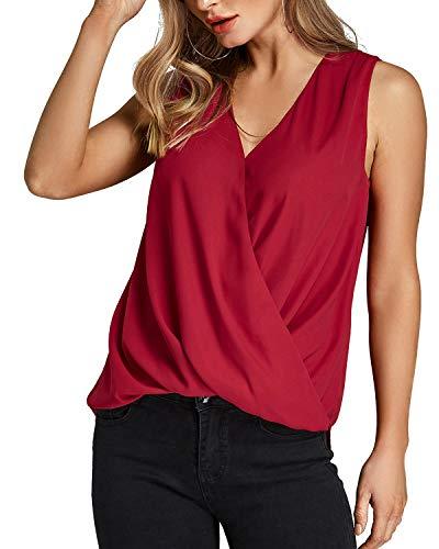 Yoins donna canotta casuale camicetta con scollo a v maglietta senza maniche in chiffon top estivo canottiere da donna eleganti tank rosso eu32-34