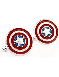 Gilind Superhero Captain America Shield Pentagram Gemelos, 1 par (con bolsa de regalo)