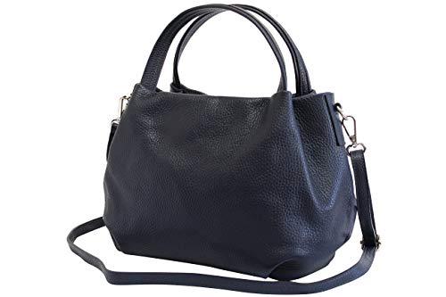 AmbraModa Damen handtasche Henkeltasche Schultertasche aus Echtleder GL023 (Dunkelblau) -