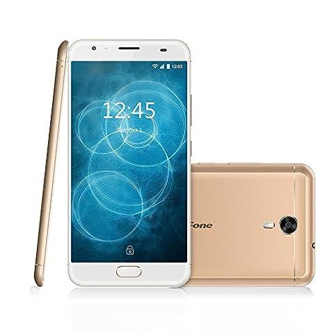 Ulefone Power2 Smartphone téléphone portable Débloqué 4G incroyable Batterie 6050mAh,9V / 2A Charge rapide,5.5 pouce FHD écran,Android 7.0,4 GB RAM 64 GB ROM,MTK6750T Quad core 1.5Ghz ,caméra arrière 13MP frontale 8MP,Coque métallique,Empreinte digitale ,Dual sim,wifi,Notification LED,LTE Cat.6 + VoLTE,GSM,WCDMA,FDD-LTE (Or)