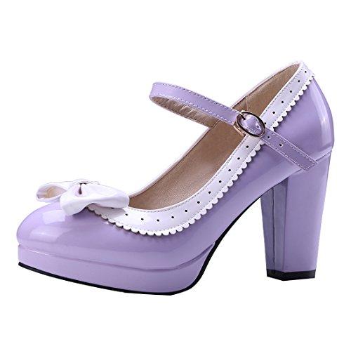 UH Damen Mary Jane Lack High Heels Plateau Rockabilly Pumps Blockabsatz mit Riemchen und Schleife Schuhe