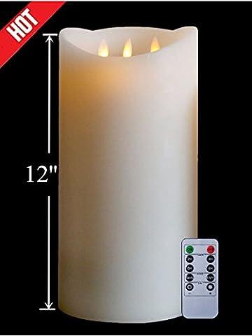 3 Dochte Groß Beweglicher Flamme 30cm Elfenbein Flammenlose LED Kerzen mit Timer und Fernbedienung