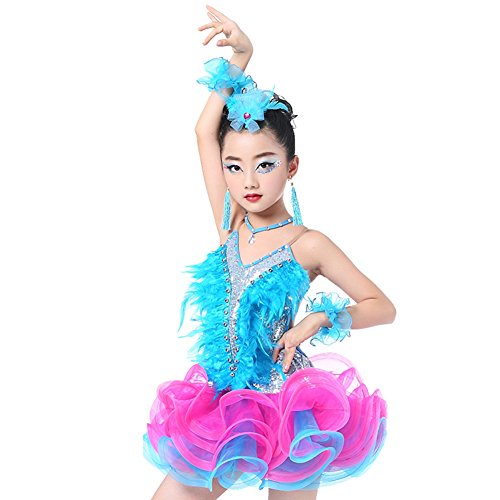 Dreamowl Mädchen Ren Pailletten Backless lateinisches Tanz-Kleid Rumba Salsa Rock (98/104, Blue)