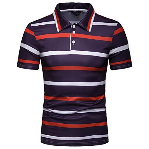 CICIYONER Poloshirts Herren Kurzarm Streifen Malerei Große Größe Casual Top Bluse Shirts Multi-Color und Multi-Size - Herren-multi-streifen-shirt