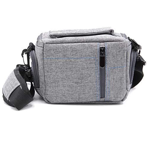 vhbw Universal Kameratasche grau Canvas für spiegellose Systemkamera Canon EOS M10, M50, R -