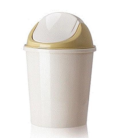 Trash cans Trash Can Creative Storage barrels Home Living Room shake cover Wastebasket Kitchen Bathroom Toilet Plastic Trash cans creamy-white S