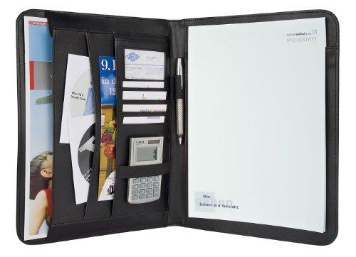 Wedo 585401 Schreibmappe Elegance A4, Einsteckfächer, Gummizugschlaufen für Stifte, Visitenkartenfach, Kunstleder / strukturiertes Nylon, schwarz