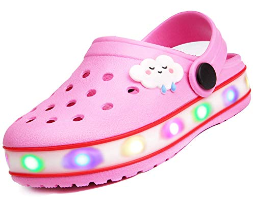 Kinder Jungen Mädchen LED Clogs Süße leichte Sommer Hausschuhe Garden Beach Sandalen Pink 25 EU - Einzigartige 5-licht