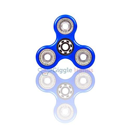 Fidget Spinner Antistress per bambini e adulti - Cuscinetto in ceramica ad alta velocità Si3N4 - Rotazione da 1 a 3 minuti - Giocattolo sensoriale Tri-Spinner Fidget Toy (Blu)