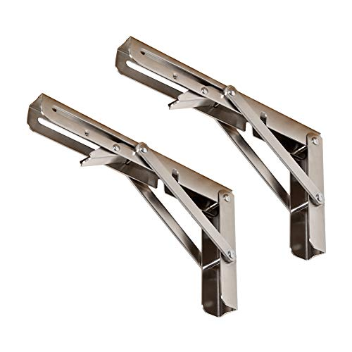 Klappbare Regalhalterungen, max. Belastung: 300 kg Wandmontage - Hochleistungsauflage aus poliertem Edelstahl - zusammenklappbare Regalhalterung für Tischarbeitsbank, platzsparende DIY-Halterung (Folding Shelf Hardware)