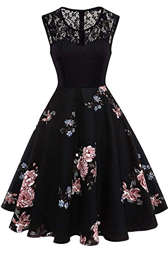 Axoe Damen 50er Jahre Rockabilly Kleid mit Blumenmuster àrmellos, Farbe04, XXL (46 EU)