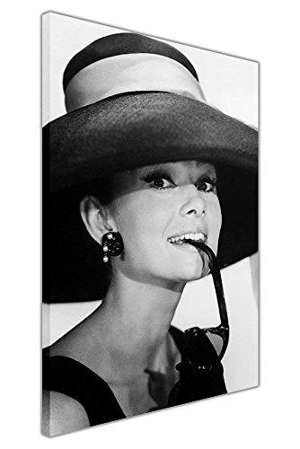 Gerahmtes Leinwandbild, Schwarz/Weiß, Audrey-Hepburn-Motiv, mit Sonnenbrille, Kunstdruck, schwarz / weiß, 06- A0 - 40