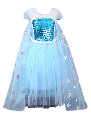 APJJ Prinzessin Rock ELSA Kleid Flauschige Kleid Mädchen Kostüm (Purge Kostüm Mädchen)