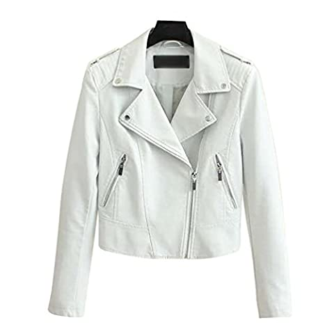 Baymate Damen Vintage PU-Leder Jacke Bikerjacke Kunstlederjacke Kurz Motorradjacke Top