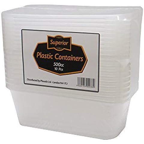 [10Pack] calidad superior tapas de contenedores de plástico cajas de microondas congelador safe-lunch–alimentos y ideal para cocinar comidas, de pimiento, pasta, arroz, curry, Potaoes y más, plástico, 500 ml
