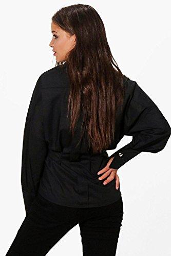 Femmes Noir Ella Chemise À Grands Revers Et Ceinture Nouée Noir
