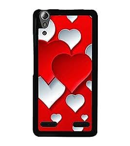 Red White Hearts 2D Hard Polycarbonate Designer Back Case Cover for Lenovo A6000 Plus :: Lenovo A6000+ :: Lenovo A6000