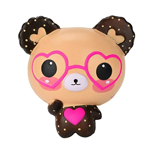 Squishy Toy, Hmeng Creative Squishy Lovely Cute Glasses Bear Scented Charm Super Slow Rising Jumbo Squeeze Soft Toy Charms Cellphone Key Chain Charm Pendant Strap Adult Kid Gift (Brown)