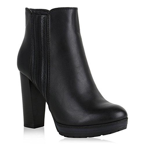 Stiefelparadies Damen Schuhe Plateau Boots High Heels Stiefeletten Leicht Gefüttert 151379 Schwarz Agueda 39 Flandell