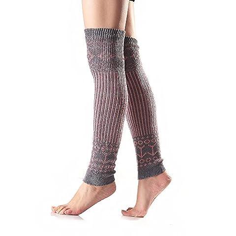 TININNA Damen Frauen Winter Elegant Vintage Strick Stulpen Gestrickt Beinstulpen Beinwärmer Strümpfe Grau