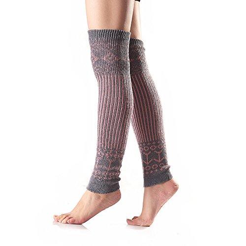 TININNA Autunno e Inverno Lavoro a maglia Strisce verticali colori misti Calzini al ginocchio Caldo Calze Scaldamuscoli per le donne ragazze Grigio
