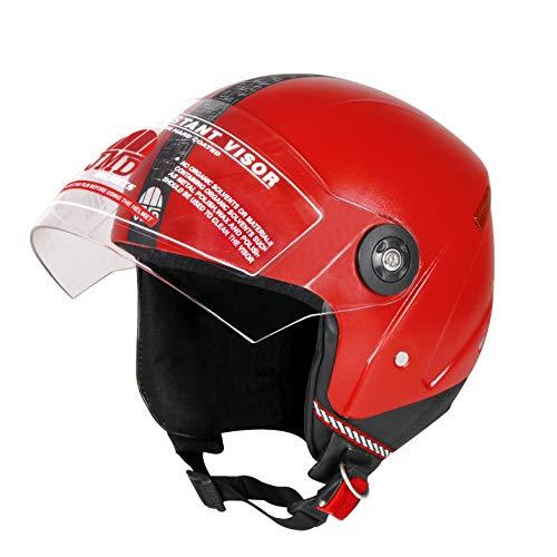 JMD GRAND NEW ISI (Reflector) Unisex Half/Open Face Helmet (Red,M/L)