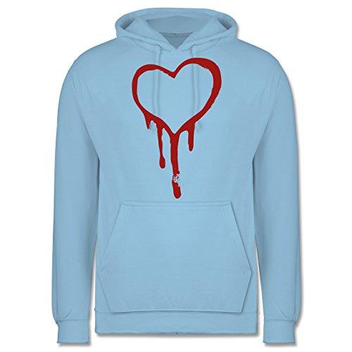 Shirtracer Symbole - Blutendes Herz - Bloody Heart - XS - Hellblau - JH001 - Herren Hoodie (Blutendes Herz)