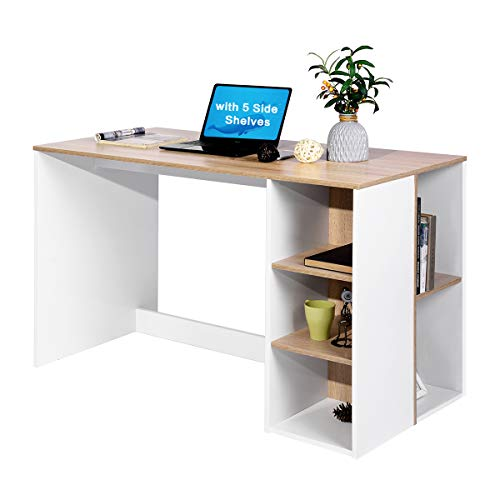 Coavas Computer Schreibtisch Büro Schreibtisch mit 5 Seitenregalen Große Arbeitstisch Modern Laptop Notebook Schreibtisch mit Lagerung Holz Workstation Home PC Organisatoren Metall Beine-Eiche/ Weiß -