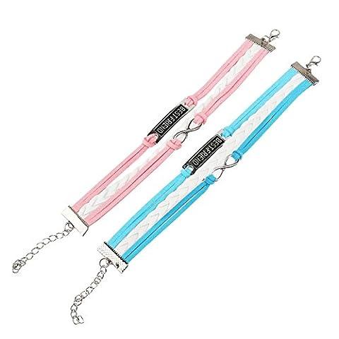 WINOMO Handmade Adjustable Best Friend Friendship PU Bracelet Wirstband Cuff Bracelet - 2 Pieces