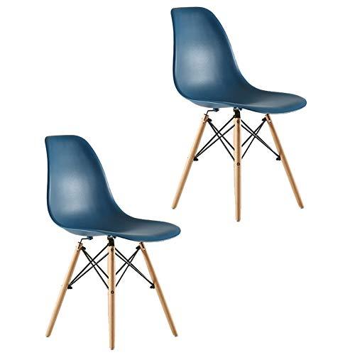 BAIVIN 2 stücke Cafe Esszimmerstuhl, Retro Casual Style Kunststoff Stuhllehne Holzbeine Ohne Armlehnen, für Schlafzimmer Büro Küche Esszimmer Möbel,Q -