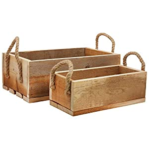 BELLE VOUS Holz Aufbewahrungsbox - 2-er Set Holzkisten, Obstkisten Aufbewahrungskiste mit Griffen aus Jute Seil - Vintage Kisten, Weinkiste, Holzbox für Haushaltsartikel, Wohnaccessoire, Deko Truhe