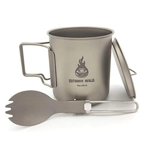 Titan Tasse 420ml Outdoor Camping Geschirr Titantasse mit Deckel und Göffel Das perfekte Leichtgewicht (Kleine Leute-tee-garten)