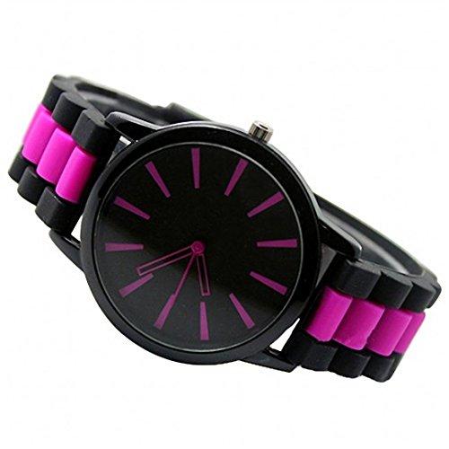 Ouneed® Uhren,Mode Unisex Damen Hehen Silikon analoge Quarz Armband Uhren (hot pink)