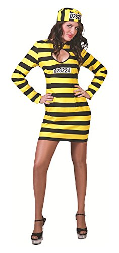 Preisvergleich Produktbild Sexy Sträfling Dalton Damen Kostüm Schwarz Gelb Gr. 44 46