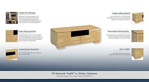 """TV-Schrank """"Lipik"""" 11, Farbe: Eiche / Schwarz, teilmassiv – Abmessungen: 122 x 38 x 50 cm (B x H x T) - 2"""