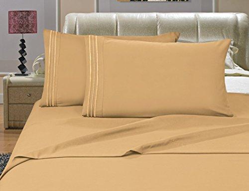 Elegance Linen Bettwäsche-Set, knitterfest, Fadenzahl 1500, seidig weich, luxuriös, 4 Stück, Tiefe Taschen, bis 40,6 cm, goldfarben -