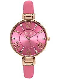 So & Co New York SoHo Women's Quartz Watch with Pink Dial Analogue Display and Pink Leather Strap 5091.5