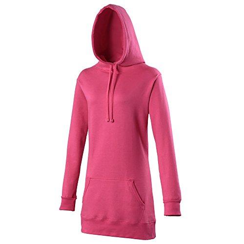 Reliant Girlie Longline Hoodie, Sweat-Shirt àCapuche Femme Rose - Rose fluo