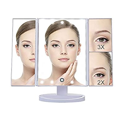 DELIPOP 21 LED Lighted Makeup Mirror, 1X/2X/3X Magnifying Vanity Mirror with 180 Degree Rotation, Dimmable LED Touch Screen Makeup Mirror for Countertop, Dressing Table And Mother's Day Gift produced by DELIPOP - best deals