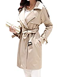 Yasong Women's Classical Long Sleeve Double Breasted Loose Fit Wind Coat Jacket Trench Coat With Belt