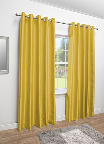 Luxury Faux Silk Fully Lined Eyelet Curtains (Yellow, 117cm Width x 183cm Drop (46″x 72″)