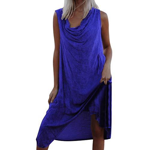 DAY.LIN Bohémien Maxi Robe Femmes Rétro Couleur Pure Robe de Plage Col en V Soiree Robes Casual Loose Fête Clubbing T Shirt Longue Robe de Cocktail Pas Cher(XXX-Large,Bleu)