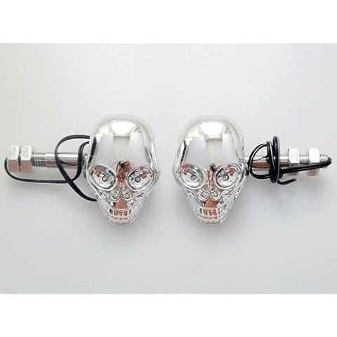 El cr¨¢neo esquel¨¦tico 3D THG 2x LED Se?ales Moto Forma indicadores de giro intermitente ¨¢mbar Luz para BMW Triumph Ducati 10mm de montaje