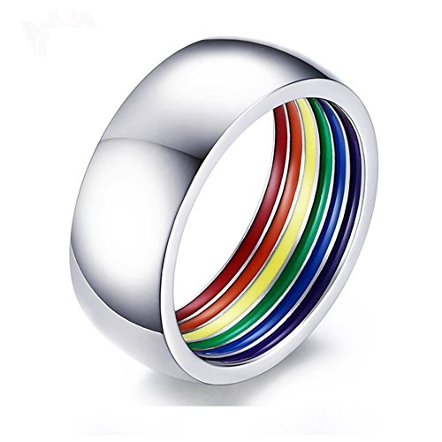 Heyrock Inside Rainbow LGBT Ring for Men Stainless Steel Wedding Rings 8MM Wide Gay Pride Jewelry (65)