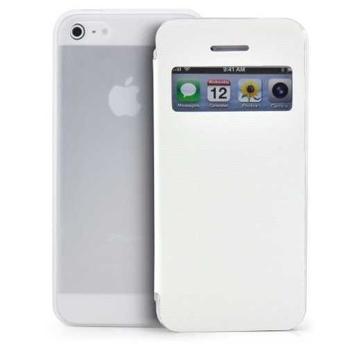 Saxonia Tasche Apple iPhone 5C Hülle Case Schutzhülle Flip View Cover mit Fenster und Kameraschutz Weiß (Iphone 5c Flip Cover Mit Fenster)