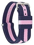 MOMENTO Correa de Reloj de Nato Nailon para Mujer y Hombre con Hebilla de Acero Inoxidable en Plateada con Tela Azul Rosa en 16mm