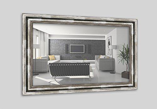 WANDStyle H550-031 Wandspiegel Spiegel Barock Modern Antik Massivholz Silber (50 x 100 cm)