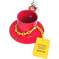 KAIRAY - Cerradura de Acero para Remolque de 5ª Rueda, Color Rojo con Etiqueta de precaución de Color Amarillo Brillante, 2 Llaves