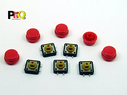 POPESQ® - 5 Stk. x Taster (12mm x 12mm) mit Kappe 7.3mm 4 polig SMD Rot Rund / 5 pcs. x Momentary switch (12mm x 12mm) with Cap 7.3mm 4 way SMD Red Round #A2116 -